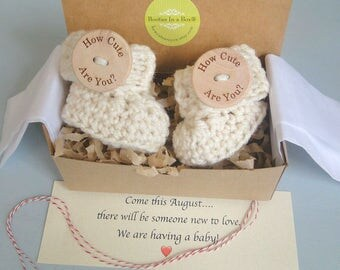 Grandparent Pregnancy Announcement, BOOTIES IN A BOX® Ribbed Cuffs with Large Wood Buttons, Newborn Baby Booties,  Personalized Message