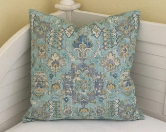 Aqua and Blue Ikat Designer Pillow Cover - Square, Lumbar and Euro Sizes