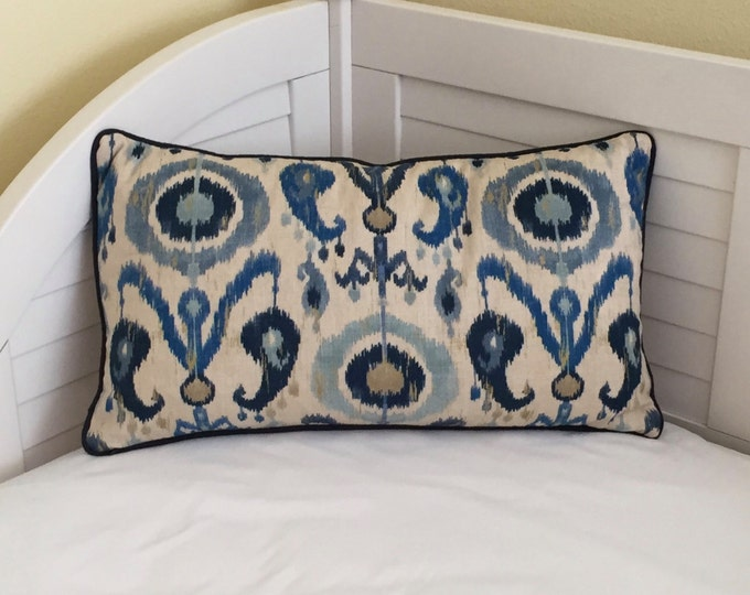 Kravet Zaria Ikat Designer Pillow Cover  with Piping - Square, Lumbar, Euro and Body Pillow CoverSizes