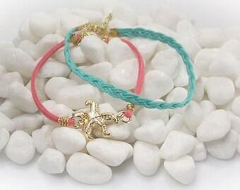 Starfish Bracelet Set Starfish Jewelry Friendship Bracelet Coral Aqua Teal Bracelet Cord Bracelet Multi Strand Bracelet Ocean Jewelry- 16102