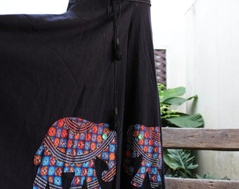 Wide Leg Pants - Black Cotton with Stitched Cotton Elephants RE1701-03