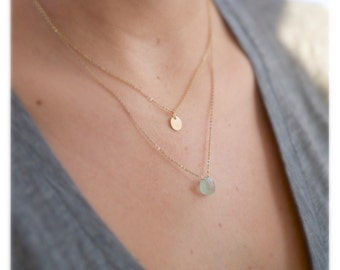 Small Aquamarine Necklace/Gift for her/ Bridesmaids jewelry/14kt Gold Layered Necklace/Minimalist Jewelry/small gold necklace