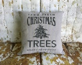 Christmas Tree Farm Pillow Navy and cream farmhouse ticking neutral farmhouse christmas decor christmas tree farm holiday pillow
