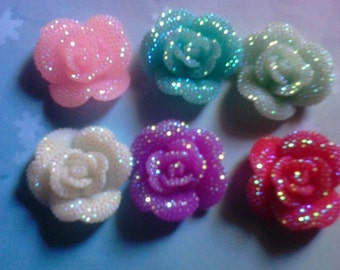 Kawaii rose with rhinestones  decoden deco diy charms  6 pcs--USA seller