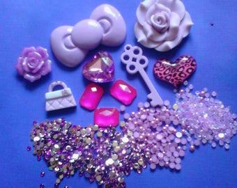 Kawaii cabochon decoden deco diy charm  purple bow kit  B 34---USA seller