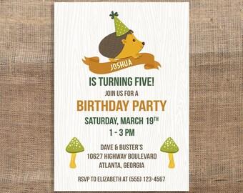 Hedgehog Birthday Invitation, Birthday Party Invitation, Woodland Animal, Neutral, DIY PRINTABLE