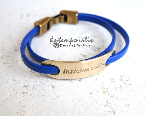Bronze and blue leather bracelet, Instants volés, OOAK, SABR26