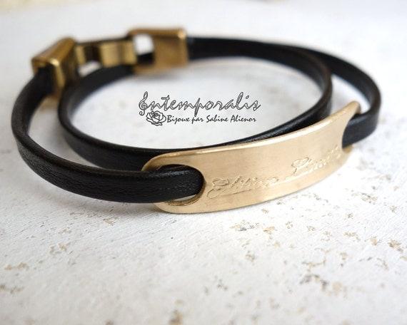 Bronze and black leather bracelet, Edition limitée, OOAK, SABR27