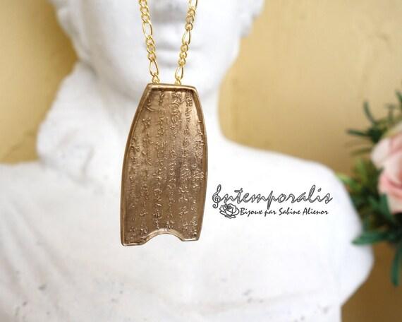Bronze chinese design pendant, OOAK, SAPE04