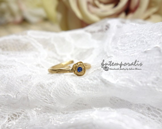 Bronze and blue spinel adjustable ring SABA58