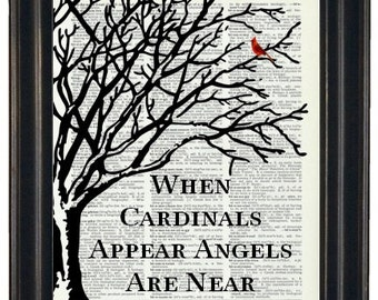 BOGO SALE Cardinal Art Print Dictionary HHP Original Design Quote With Cardinals When Cardinals Appear Angels Are Near Cardinal Gift