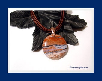 Stone On Leather Pendant, Jasper on Leather, Leather Necklace, Boho Necklace, Natural Stone, Brown Leather and Copper