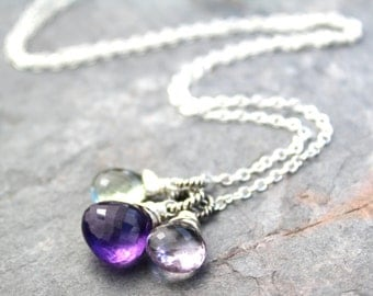 Amethyst Necklace Gemstone Trio Purple Pink Green Sterling Silver Pendant Necklace, February Birthstone