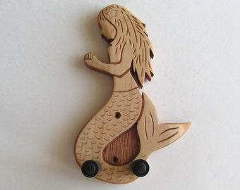 Ukulele wall mount hanger, hand carved mermaid