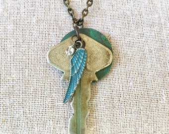 Vintage Key Feather Patina Necklace Gift for Her Christmas One of a kind
