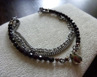 Antique Silver Curb Multi Chain Bracelet with Pyrite Briolette and Glass Beads