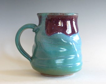 Pottery Coffee Mug, 15 oz, unique coffee mug, handmade ceramic cup, handthrown mug, stoneware mug, wheel thrown mug, ceramics and pottery