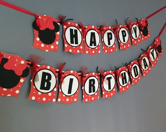 Girls Birthday Banner|Minnie Mouse Inspired|Girls Mickey Minnie Decorations|Red White and Black Decorations