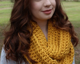 Chunky Crocheted Gold Yellow Infinity Scarf