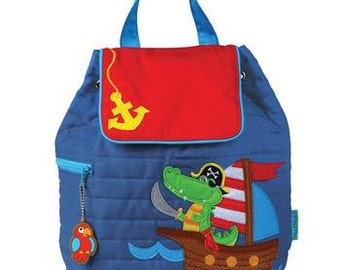 SHIPS NEXT DAY--Personalized Monogrammed --New Pattern Stephen Joseph Kid Quilted Blue Nautical Pirate Alligator Backpack-Free Monogramming-