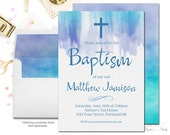 Watercolor Baptism Invitation, Boy's Baptism Invite, Printable Baptism Invite, Baptism Invitation Boy, Watercolor Invitation, Christening