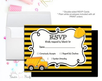 Construction Party RSVP Card, Birthday Party RSVP Reply Card, Printable RSVP Cards, Response Card, Reply Card, Boys Birthday, Kids Birthday