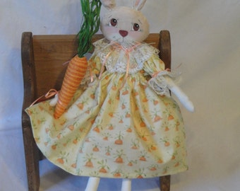 Primitive Rabbit, spring bunny rabbit, cloth doll, cute bunny rabbit holding carrot, hand made rabbit cloth doll by Morning Mist Designs