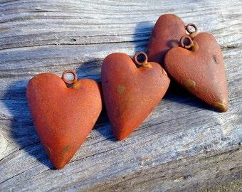 "Puffed Heart Pendant, Rusted Steel, Rusty Cowgirls, 2.25 x 1.75"", Rusty Steel Pendant, Priced per Piece"