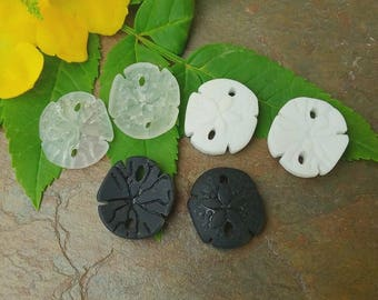 Small Sea Glass Sand Dollars, Small Sand Dollars, 20mm, Opaque Black, Crystal Clear, Opaque White