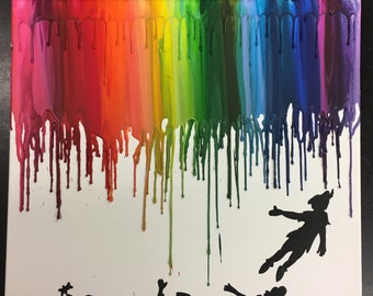 Peter Pan Inspired Melted Crayon Painting