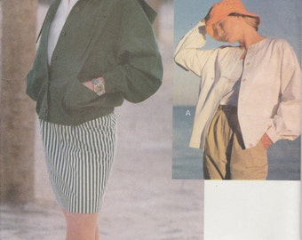 Jacket Pattern Very Loose Fitting Unlined Hood Drawstring 1991  Misses Size 6 - 10 Uncut Vogue 8096