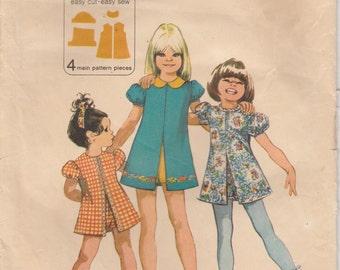 Girls Dress Pattern Shorts Set Vintage 1972 Girls Size 6 Simplicity 9895