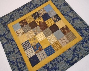 Quilted Table Topper in Earth Tones and Navy, Primitive Quilted Table Runner, Handmade Patchwork Table Quilt, Civil War Reproduction Quilt