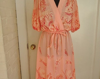 FEATHER Print Coral SHEER Vintage 1980's Women's Faux WRAP Dress S M