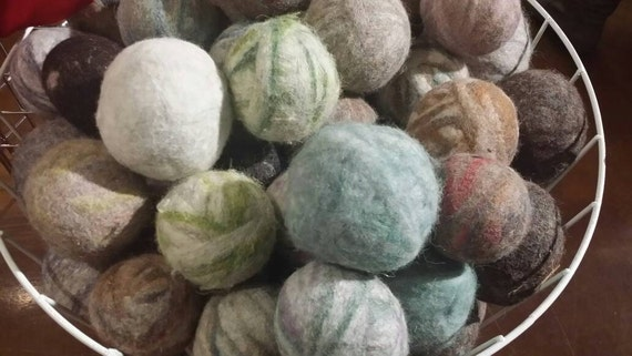 """Dryer Balls  - pack of 3 -Tumblin Woolies™- Spinderellas Creations Environmentally Friendly Dyer """"Sheep""""- Made from Wool, Alpaca, Mohair"""