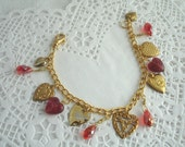 Heart charm bracelet, red hearts, brass hearts, Valentines Day