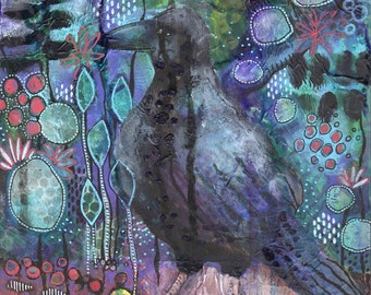 Crow Flow ORIGINAL mixed media artwork