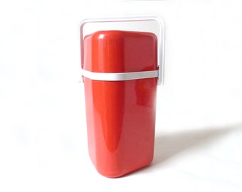 Vintage Mod Plastic Wine Cooler ... Ingrid BYO Tomato Red Insulated Wine Chiller, Portable, Picnic, Travel Wine Bottle Carrier, 1970s Modern
