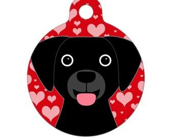 Pet ID Tag - Black Lab Valentines Day Love Pet Tag, Dog Tag