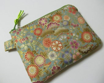 "Zipper Pouch/3.75"" x 5""/Japanese Flower Fabric x Avocado Green Zipper"