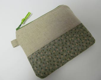 "Zipper Pouch/4""x5""/Linen x Small Flower x Green Zipper"