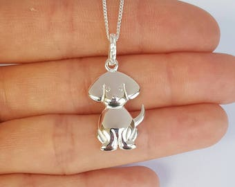 Sterling Silver Dog Necklace, Girl's Gift, Birthday Gift, Kids Gift, Kids Jewelry