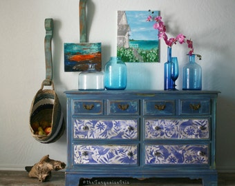 Hand Painted Dresser with Otomi Print in Windsor Blue & Turquoise