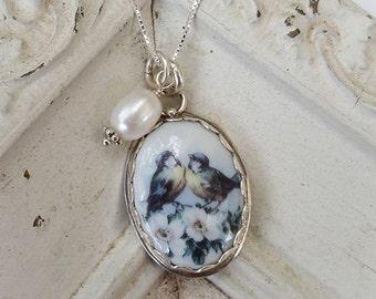 Broken China Jewelry Oval Lovebirds Pendant Necklace
