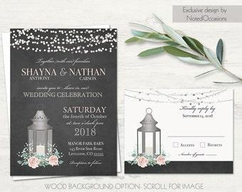 lantern wedding invitation set metal lantern wedding invite blush wedding babys breath country wedding chalkboard - Lantern Wedding Invitations