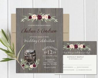 Burgundy wine wedding invitations