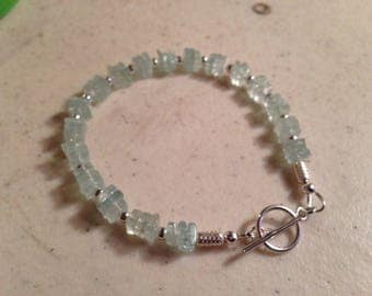 Aquamarine Bracelet - Sterling Silver Jewelry - Blue Gemstone Jewellery - Beaded - Luxe - Chic
