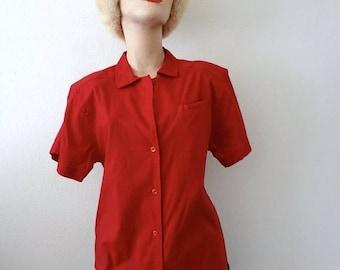 ON SALE Vintage Cotton Bouse / Cranberry Red Button Front Shirt