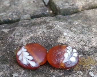 Amber Fern - lampwork beads / earring pair / glass beads / loose beads