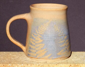 Blue Mug Fern, Coffee Tea Large Handmade Stoneware, Microwavable Roomy Handle Home and Living Kitchen and Dining Drink and Bar Ware  Niehaus